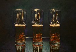 Two half full glasses and one half empty
